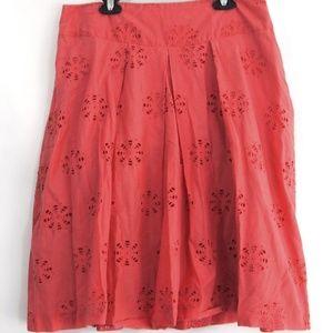 Banana Republic Coral Floral Eyelet A-Line Skirt 8
